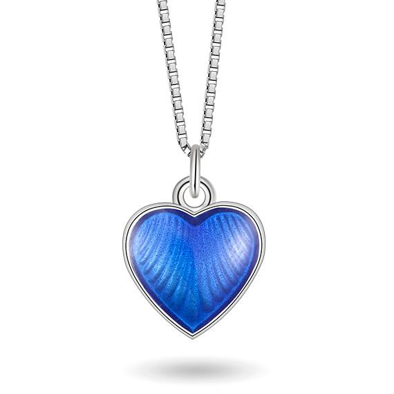 Halskjede i sølv – blått hjerte