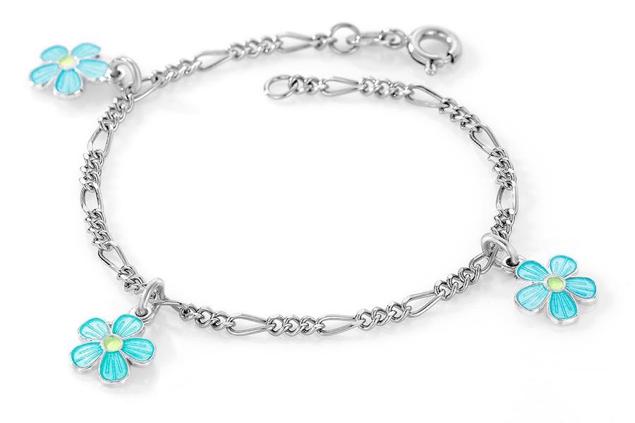 Charms-armbånd i sølv – turkise blomster