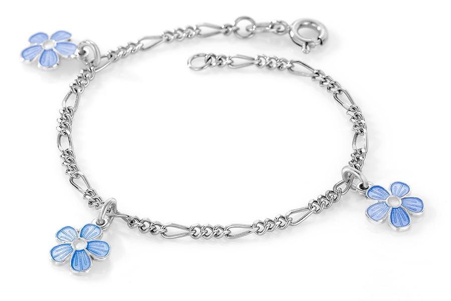 Charms-armbånd i sølv – blå blomster