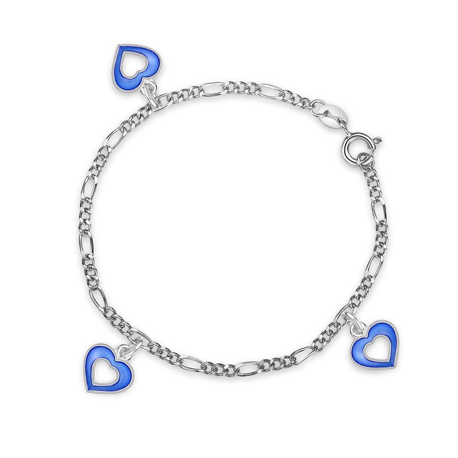 Charms-armbånd i sølv – blå hjerter