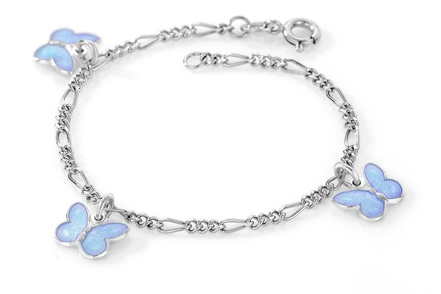Charms-armbånd i sølv – blå sommerfugler