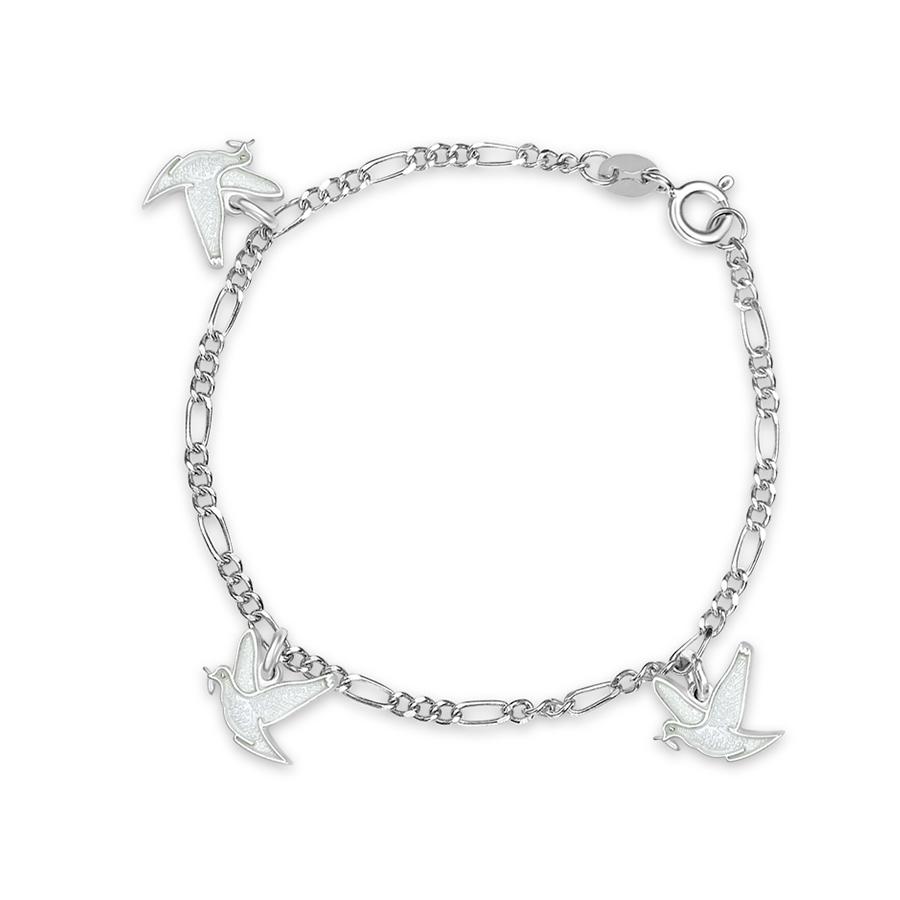 Charms-armbånd i sølv – hvite fredsduer