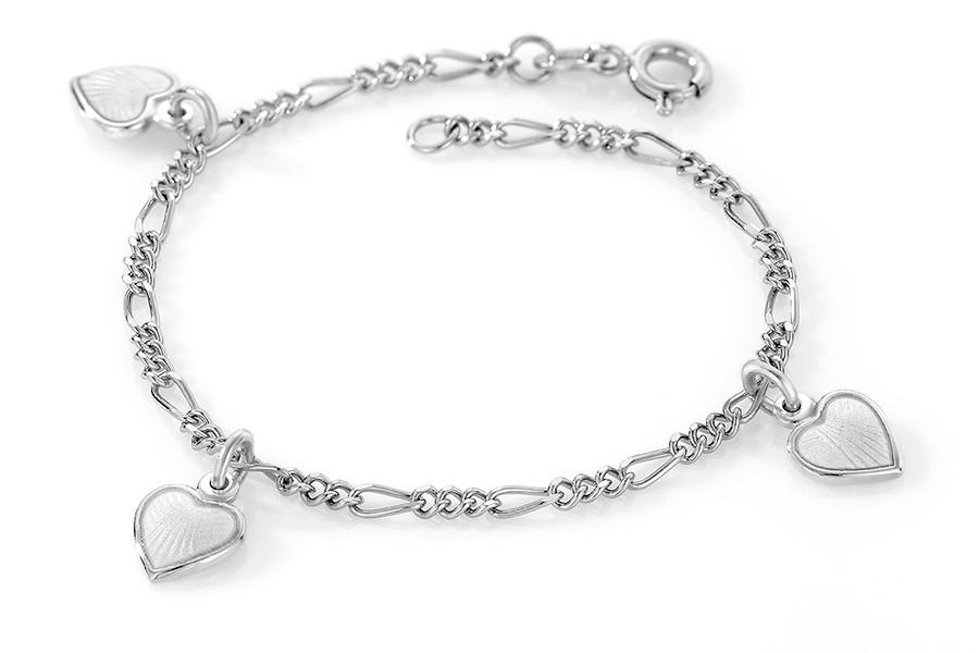 Charms-armbånd i sølv – hvite hjerter