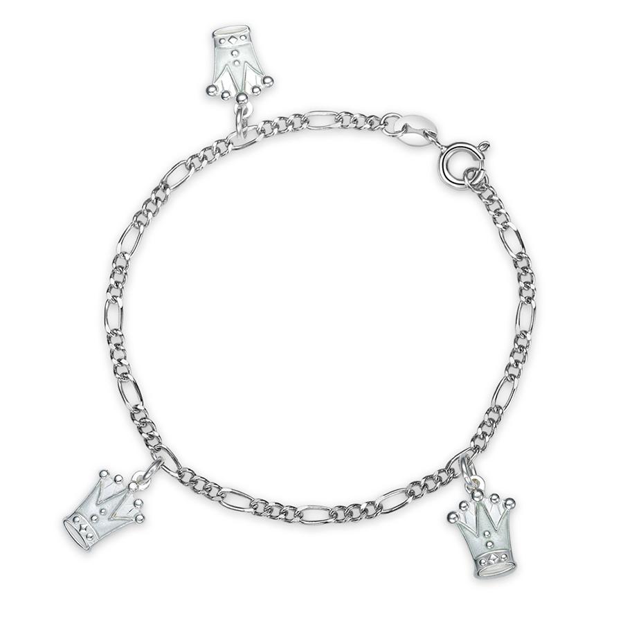 Charms-armbånd i sølv – hvite prinsessekroner