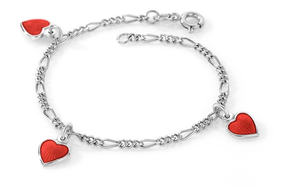 Charms-armbånd i sølv – røde hjerter