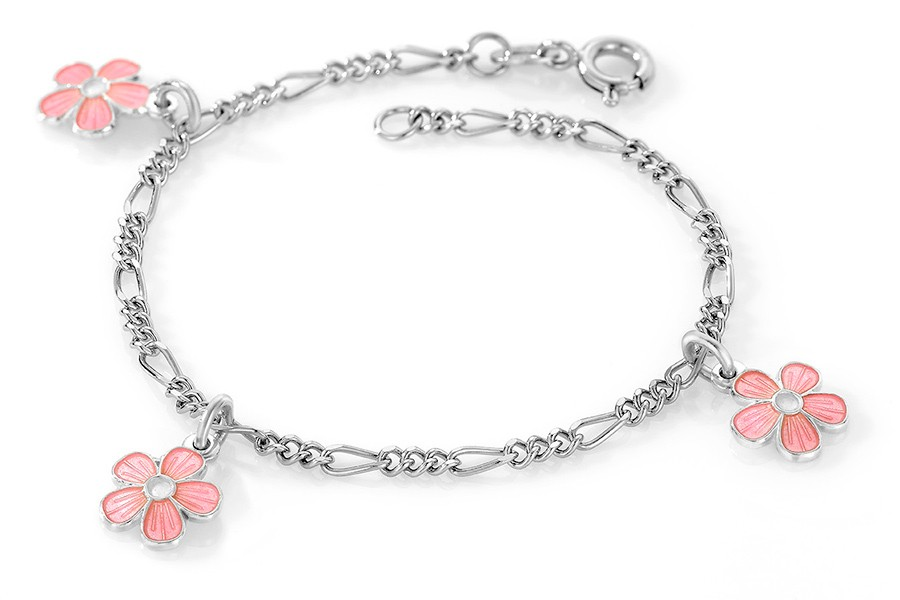 Charms-armbånd i sølv – rosa blomster