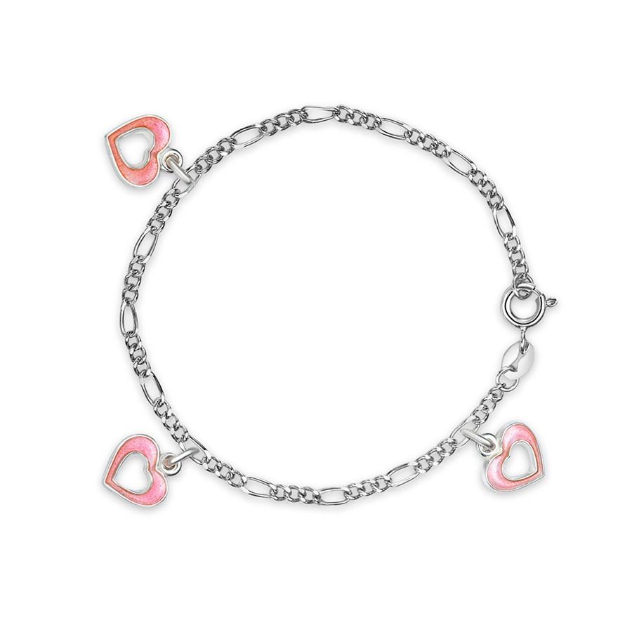 Charms-armbånd i sølv – rosa hjerter