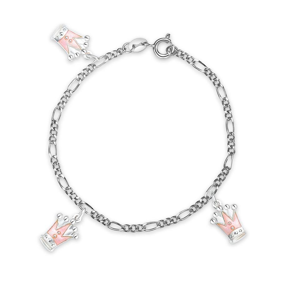 Charms-armbånd i sølv – rosa prinsessekroner