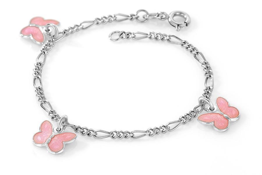 Charms-armbånd i sølv – rosa sommerfugler