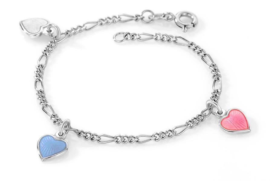 Charms-armbånd i sølv – rosa/hvite/blå hjerter