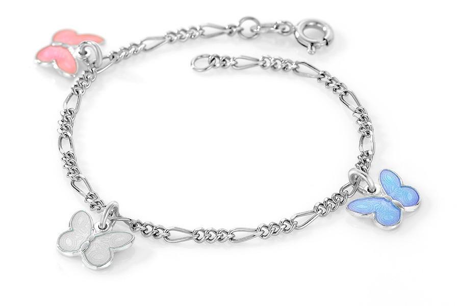 Charms-armbånd i sølv – rosa/hvite/lyseblå sommerfugler
