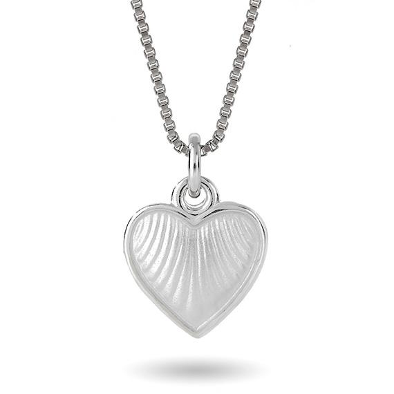 Halskjede i sølv – hvitt hjerte