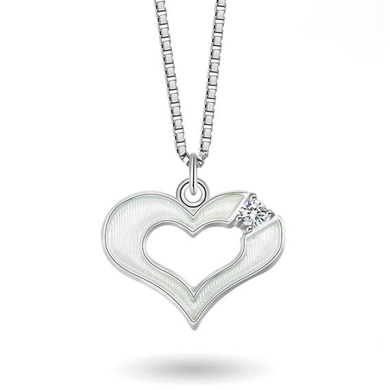 Halskjede i sølv – hvitt hjerte med cz