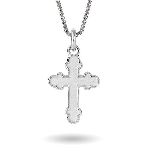 Halskjede i sølv – hvitt kors