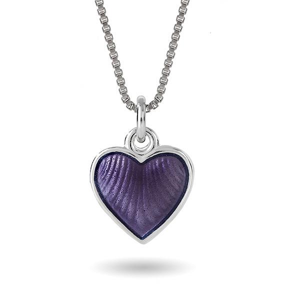 Halskjede i sølv – lilla hjerte