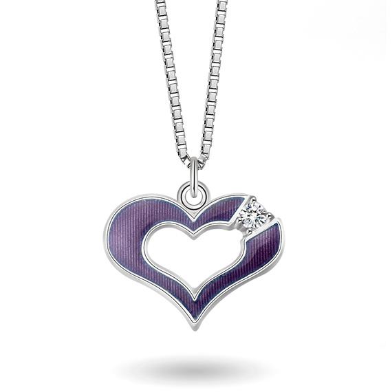 Halskjede i sølv – lilla hjerte med cz