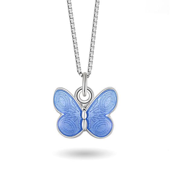 Halskjede i sølv – lyseblå sommerfugl