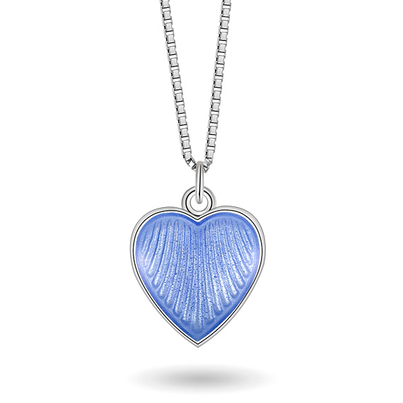 Halskjede i sølv – lyseblått hjerte