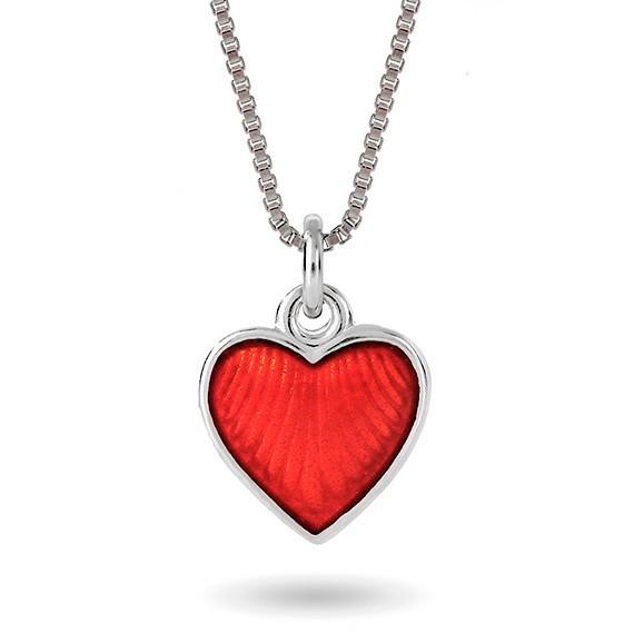 Halskjede i sølv – rødt hjerte