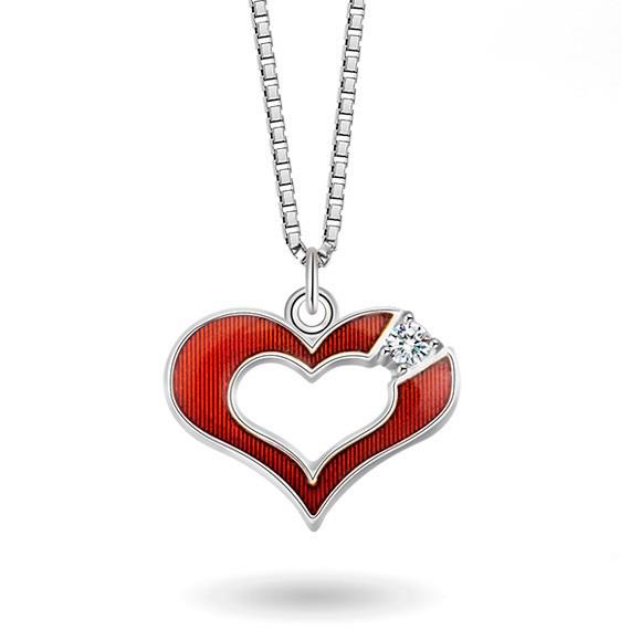 Halskjede i sølv – rødt hjerte med cz
