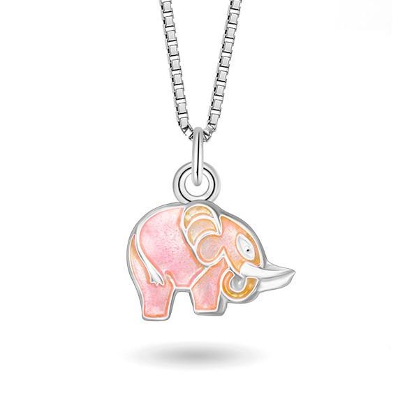Halskjede i sølv – rosa elefant