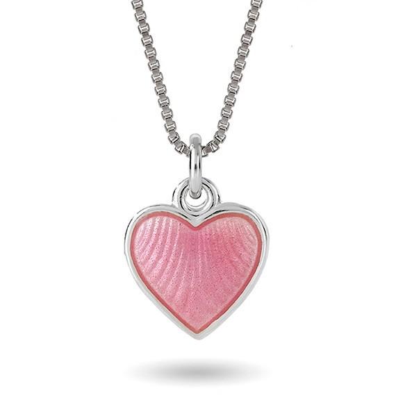 Halskjede i sølv – rosa hjerte