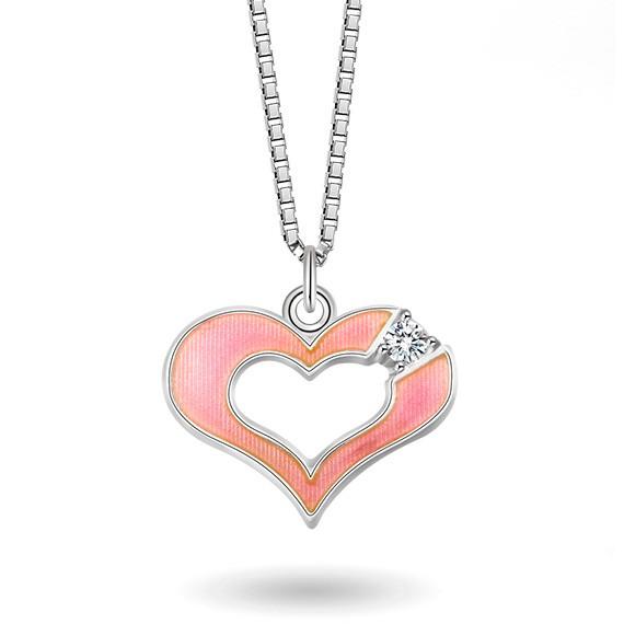 Halskjede i sølv – rosa hjerte med cz