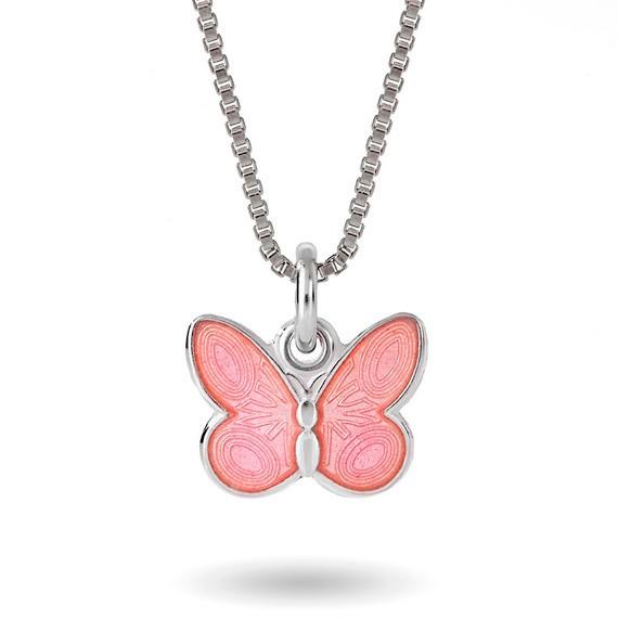 Halskjede i sølv – rosa sommerfugl