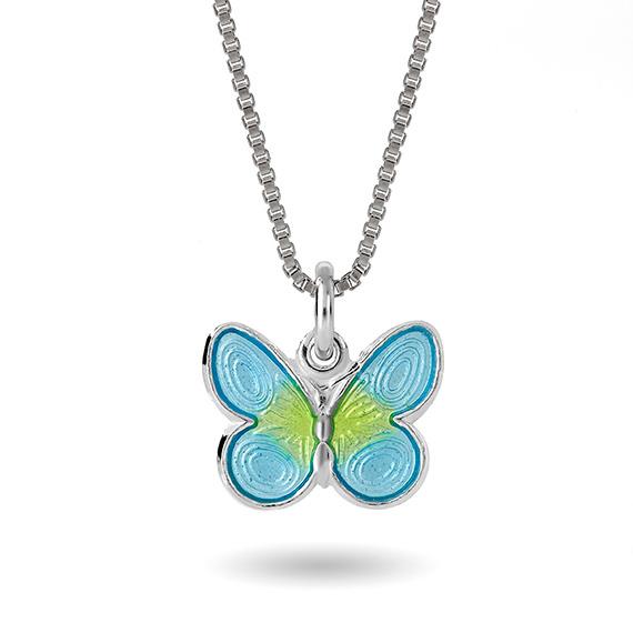 Halskjede i sølv – turkis sommerfugl