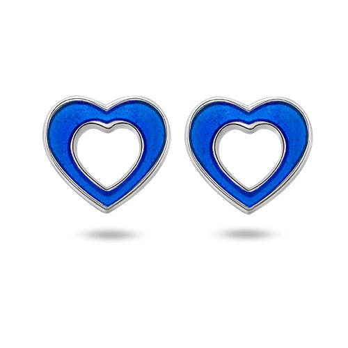Ørepynt i sølv – blå hjerter