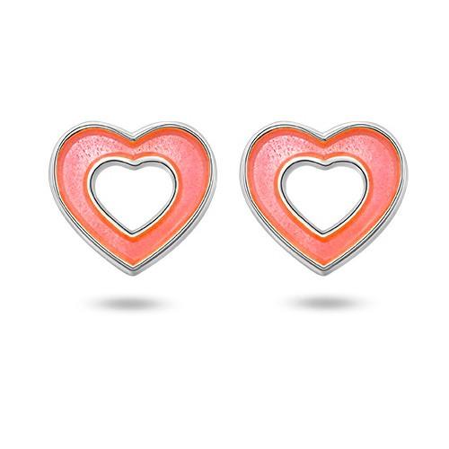 Ørepynt i sølv – rosa hjerter