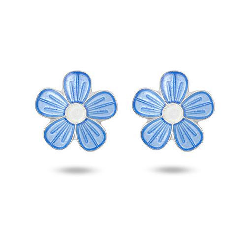 Ørepynt i sølv – blå blomster