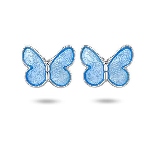 Ørepynt i sølv – blå sommerfugler