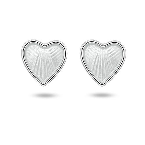 Ørepynt i sølv – hvite hjerter
