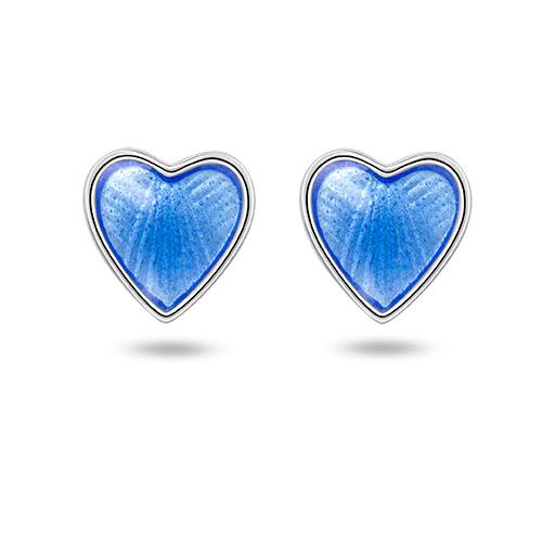 Ørepynt i sølv – lyseblå hjerter