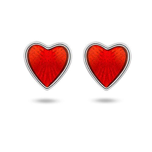 Ørepynt i sølv – røde hjerter