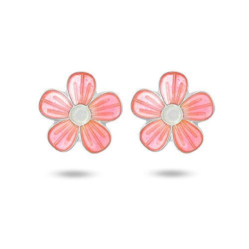 Ørepynt i sølv – rosa blomster
