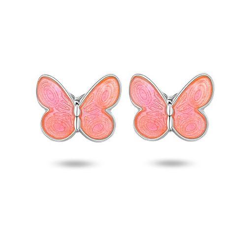 Ørepynt i sølv – rosa sommerfugler