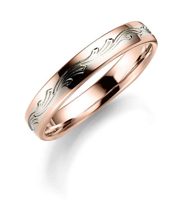 Tofarget giftering i rose og hvitt gull 4mm