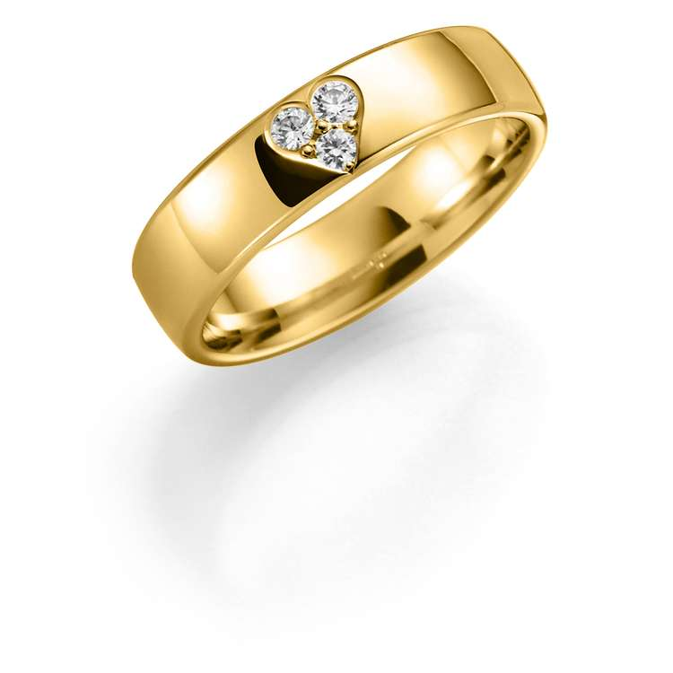 Giftering i gult gull med diamanter 5mm, 0,11ct