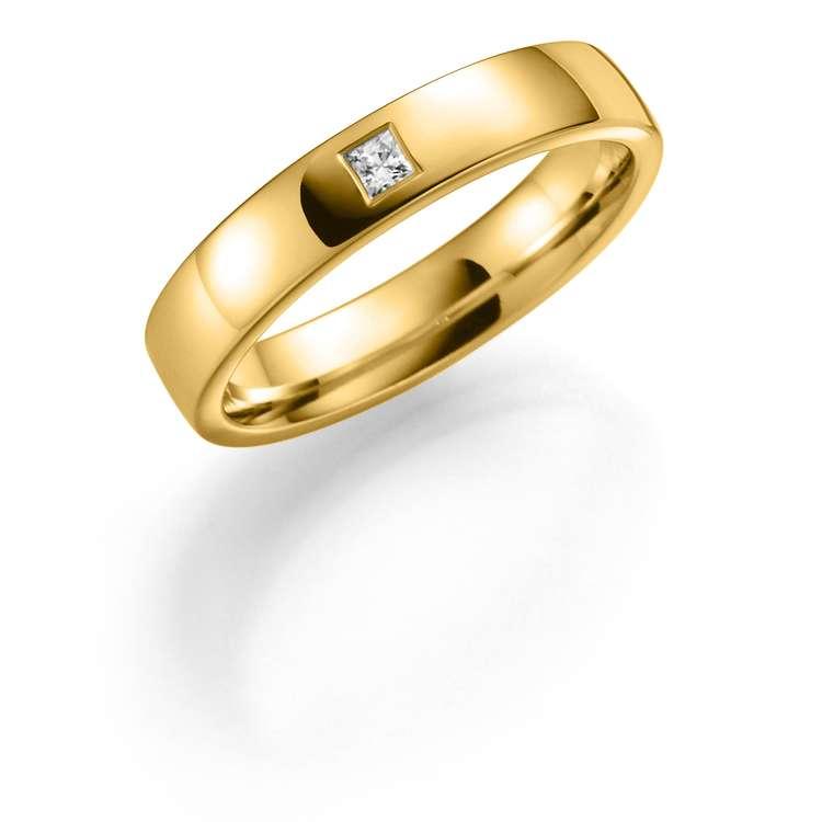 Giftering i gult gull med diamant 4mm, 0,05ct