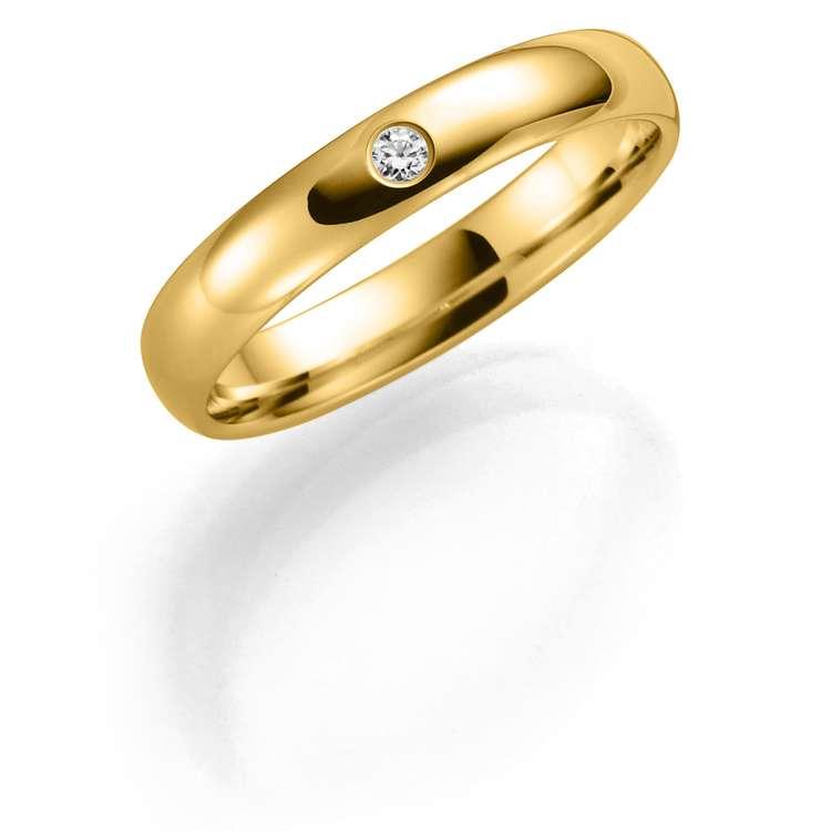 Giftering i gult gull med diamant 3,5mm, 0,03ct