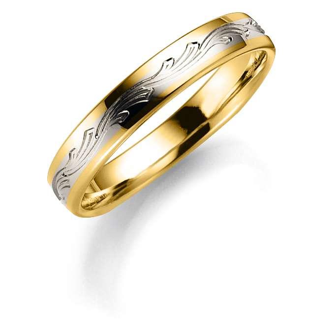 Tofarget giftering i gult og hvitt gull 5mm