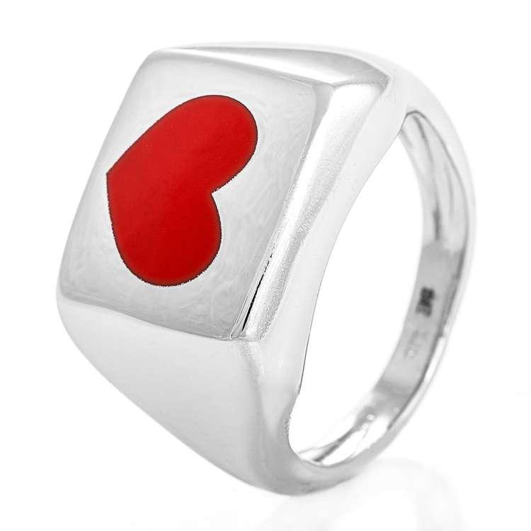Alva ring rødt hjerte 925